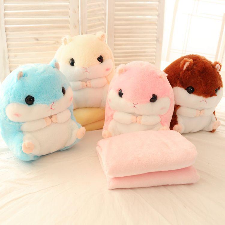 新款仓鼠公仔抱枕毯 汽车靠枕毯子两用珊瑚绒空调毯靠垫定制批发
