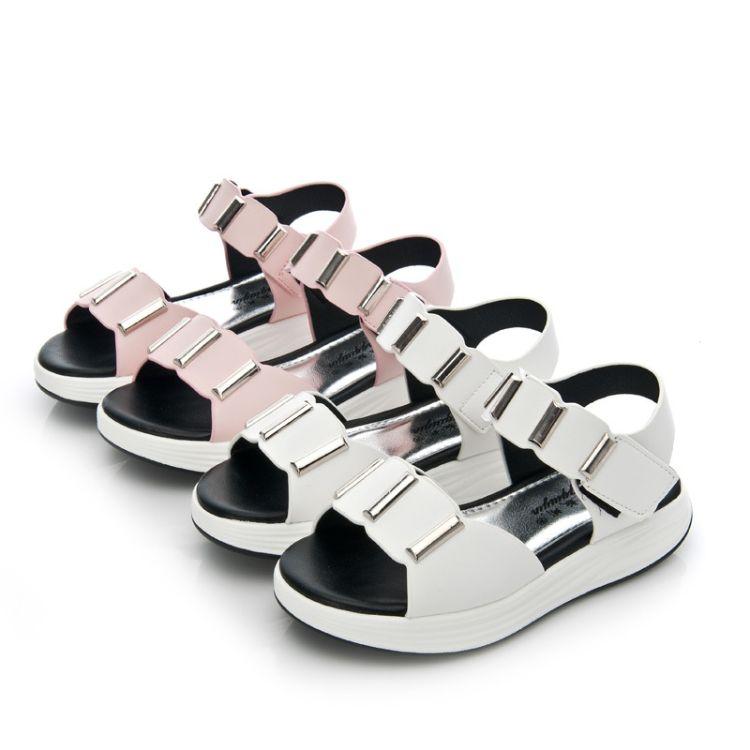 2017夏季新款女童凉鞋百搭儿童凉鞋中大童平底露趾凉鞋女177016