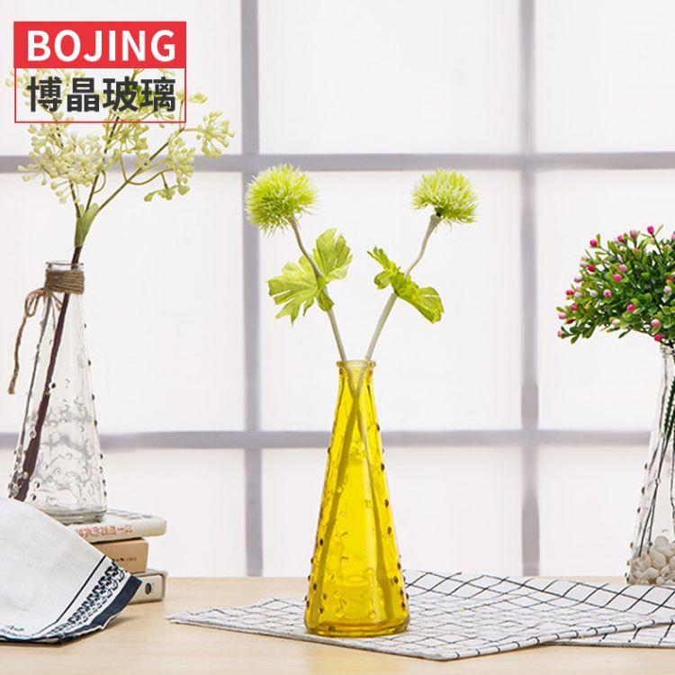批发简约花瓶小雨点玻璃花瓶锥形花瓶桌面装饰瓶日式花瓶家居摆件