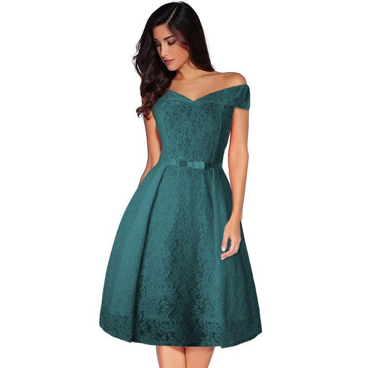 速卖通ebay热卖2018女装性感修身派对礼服优雅蕾丝拼接时尚连衣裙