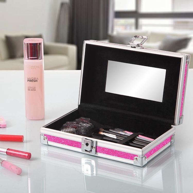 創意化妝品收納盒 桌面收納盒 鋁合金邊框收納箱 帶鎖收納盒