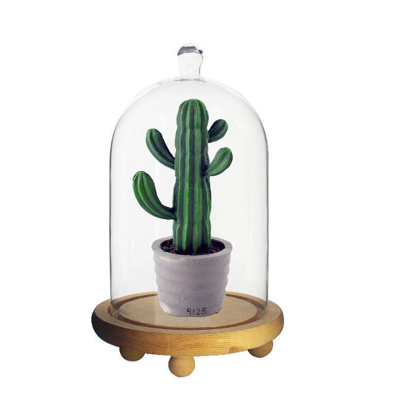 创意实木底座透明玻璃罩 永生花微景观玩偶防尘玻璃罩 透明玻璃罩