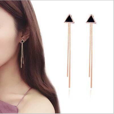 三角形長款耳釘簡約耳線流蘇耳環耳飾品耳環批發外貿飾品金色耳釘