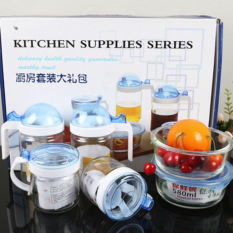 批发厨房礼品玻璃调味罐油壶套装 控油瓶调味盒广告促销赠品