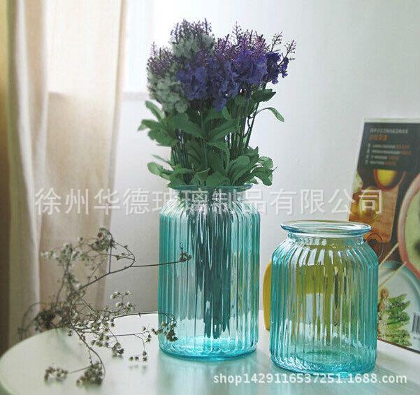 厂家批发圆筒形竖纹玻璃花瓶插花瓶水培玻璃花瓶彩色玻璃花瓶