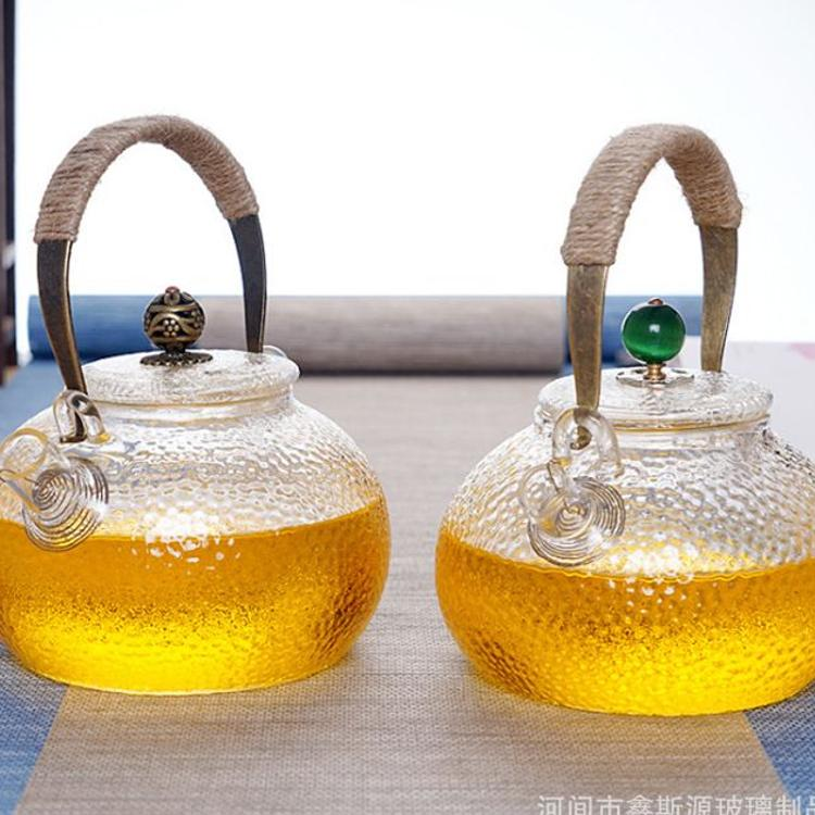 日式耐高温玻璃壶锤纹煮茶壶电陶炉专用烧水壶铜把玻璃提梁壶茶壶