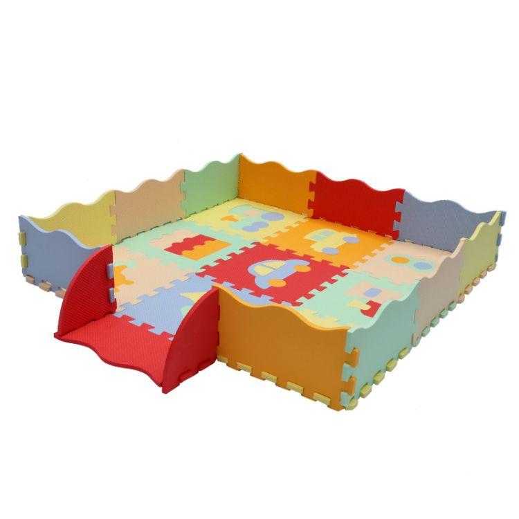 泡沫拼接地垫30*30EVA宝宝爬行垫卡通交通工具系列家用防滑坐垫