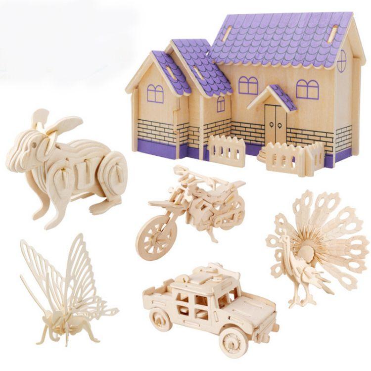 厂家直销 创意3D立体木制拼图儿童木制积木益智玩具  批发