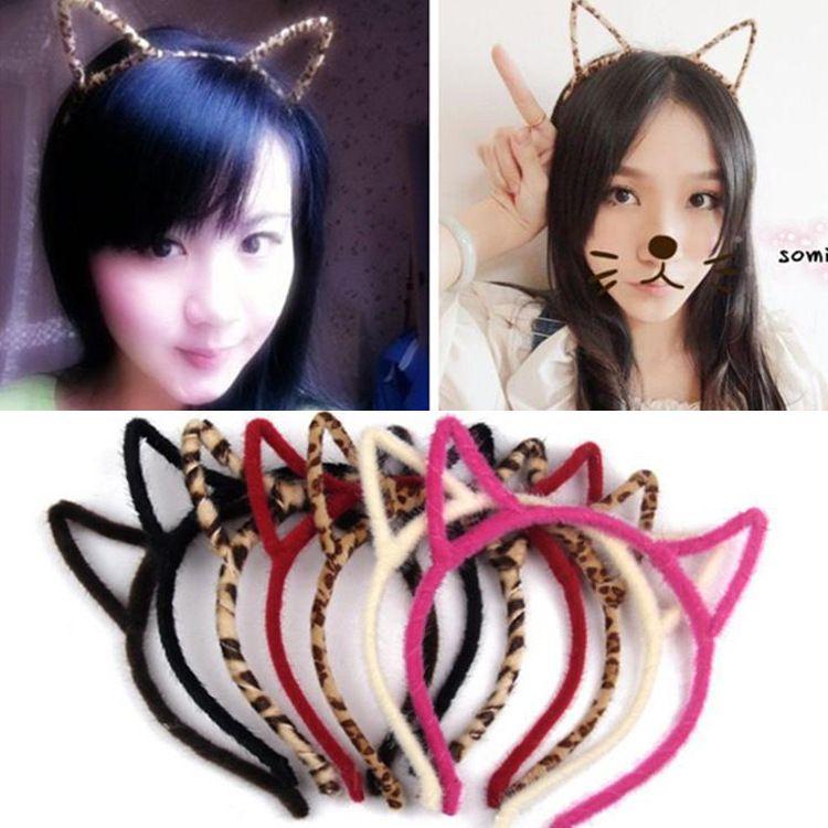 韩版可爱毛绒猫耳朵发箍 韩版头箍卖萌女式豹纹小恶魔猫耳朵发饰