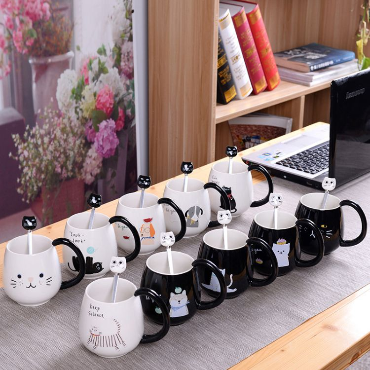 创意可爱卡通杯子陶瓷杯咖啡牛奶杯广告马克猫咪杯子赠品生日礼物