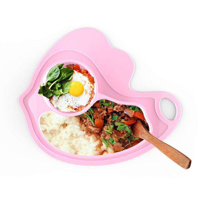 一体式硅胶儿童餐盘餐垫 宝宝吃饭吸盘分格辅食碗 儿童餐具