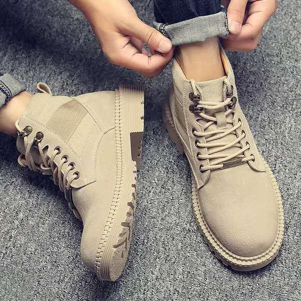 马丁靴男冬季加绒保暖棉鞋英伦中帮男鞋工装靴子雪地潮鞋高帮军靴