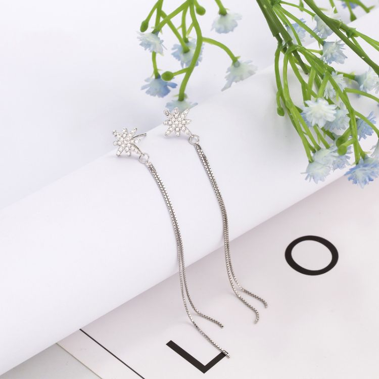 S925银微镶锆石耳钉 太阳花流苏饰品 温暖的弦张钧甯同款耳环