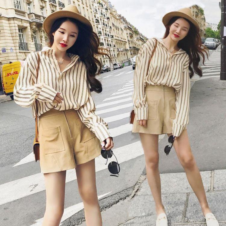 2018小香风洋气chic港味复古省心搭配阔腿裤两件套时尚潮套装