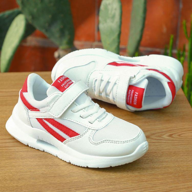 韩版童鞋2019年新款儿童纯白色学生板鞋开学季运动休闲儿童鞋批发