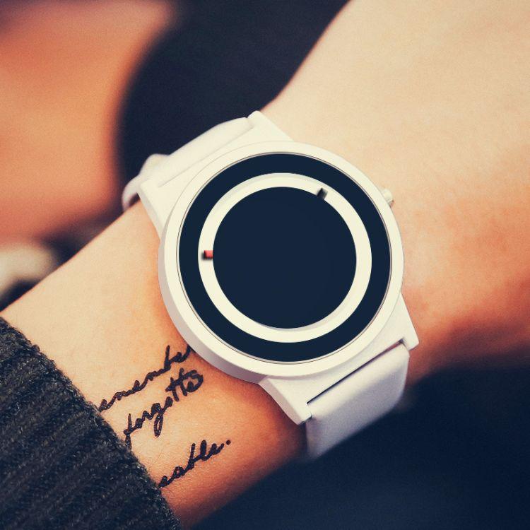 日食酷炫简约时尚男女石英创意无指针 概念手表学生防水个性腕表