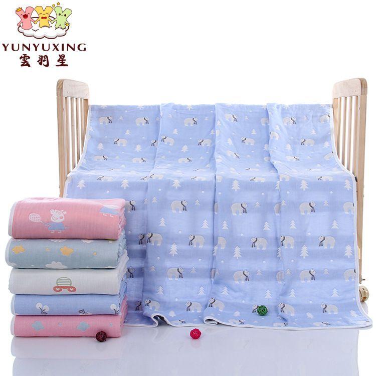 跨境专供婴幼儿纱布童被 纯棉六层宝宝大盖毯儿童巾被厂家批
