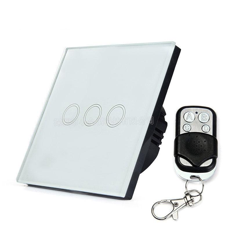 小金钢科技欧规86型三位单火线无线遥控开关  智能家居触摸开关