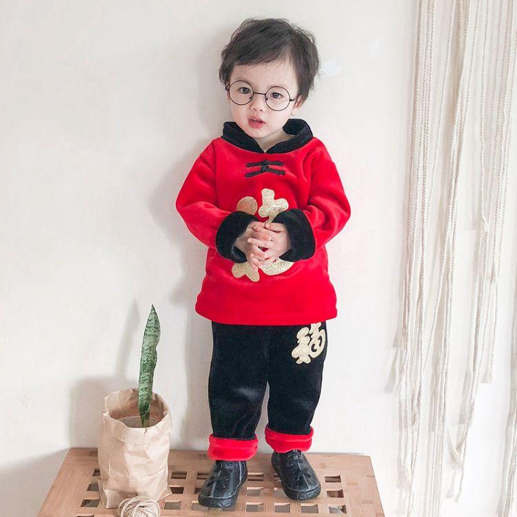 童装秋冬一件待发2018新款金丝绒套装红色喜庆 年装中国风唐装1-3