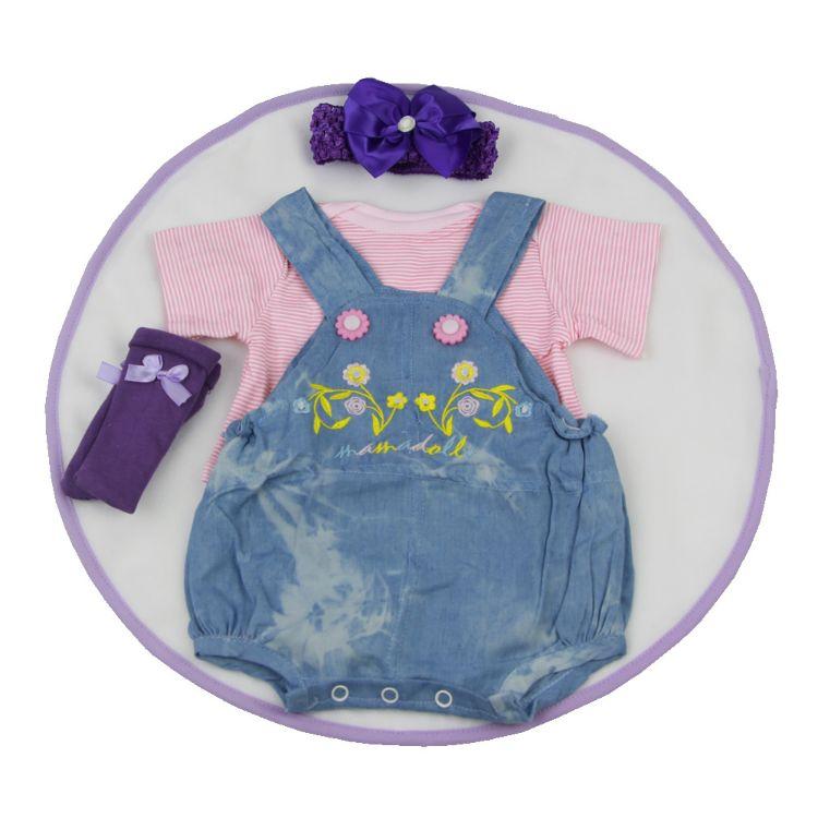 22-23寸新生婴儿牛仔背带短裤4件套 重生娃娃衣服 速卖通wish热卖