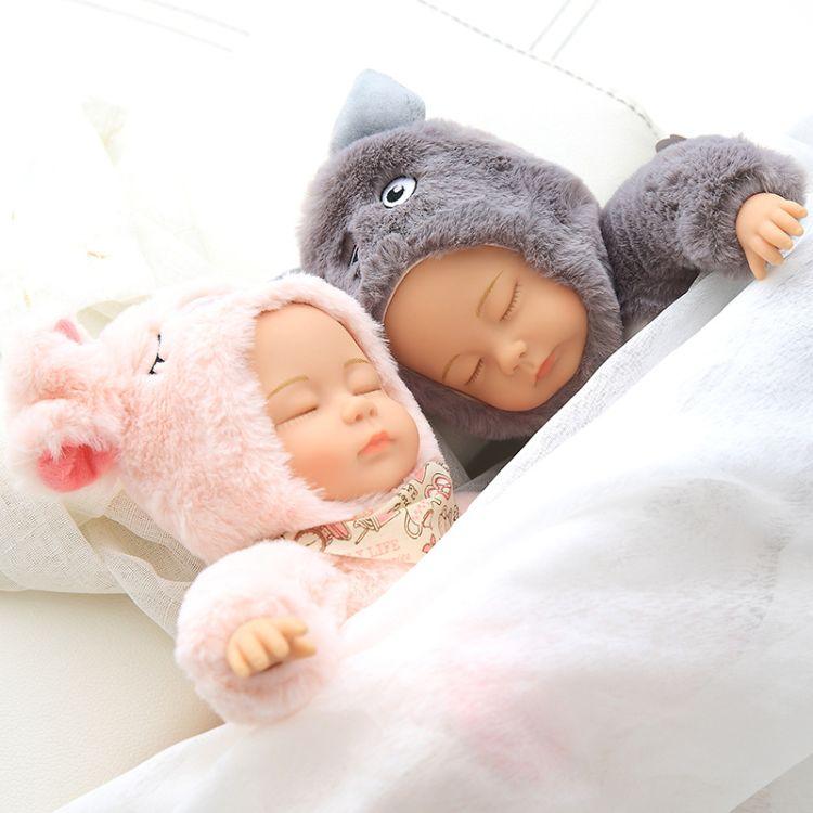 睡萌娃娃 仿真睡眠安抚娃娃 长耳兔熊垂耳兔娃娃睡梦毛绒娃娃公仔