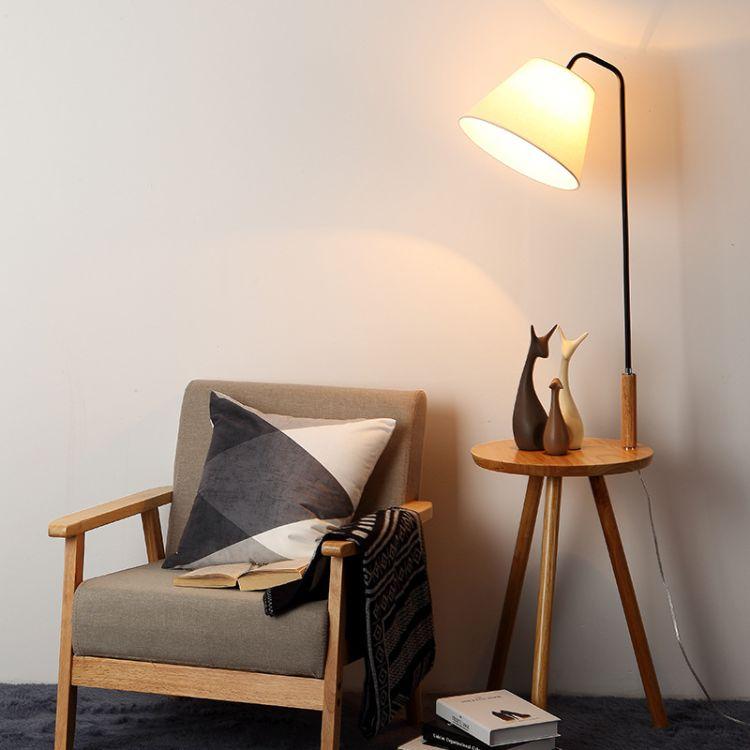 跨境 北欧木艺落地灯 现代简约创意客厅书房茶几铁艺落地台灯