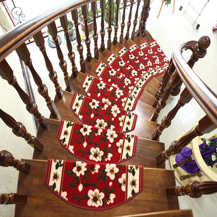 红色玫瑰楼梯垫  欧式古典地毯垫子 免胶自粘踏步垫防滑楼梯垫