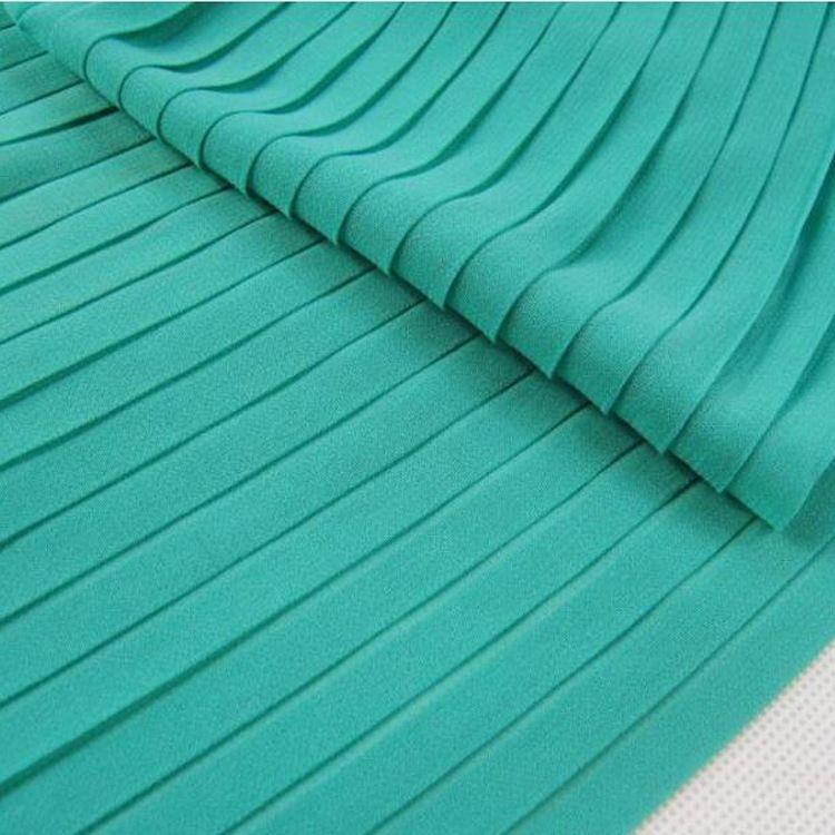 连衣裙面料褶皱烫金工厂 牙签绉服装面料风琴百褶细条纹褶皱加工