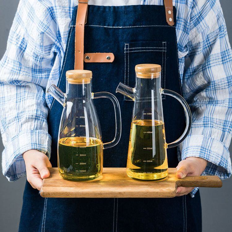 厂家供应高硼硅耐热防漏带刻度可控 玻璃油壶厨房用品调味油瓶