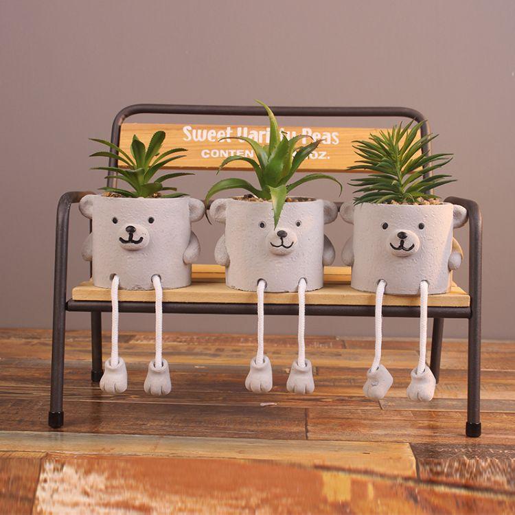 可爱小熊多肉植物仿石头水泥微景观仿真花盆透气创意多肉盆栽花盆