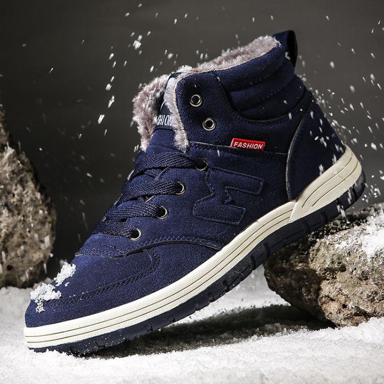 冬季新款男子高帮加毛加绒板鞋潮流高帮户外休闲鞋大码48外贸出口