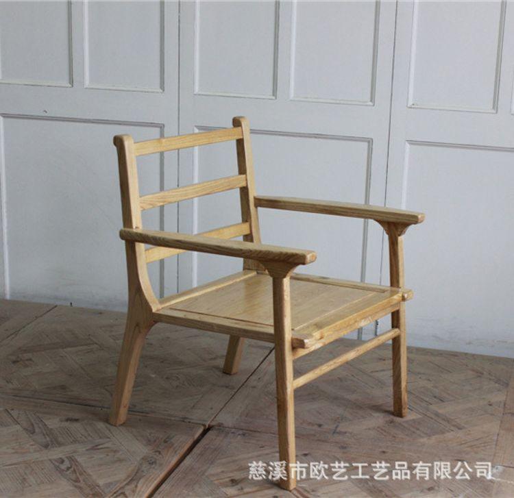 欧式乡村实木榆木扶手舒适餐椅 客厅家具实用休闲椅厂家批发