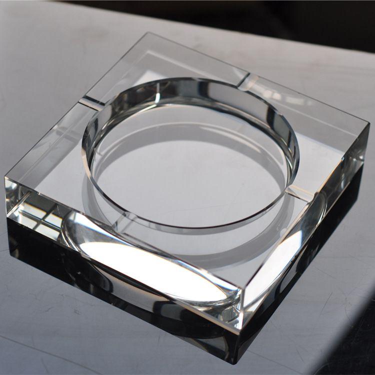 实用水晶烟灰缸高档刻字烟灰缸定制欧式客厅摆件乔迁水晶礼品赠品