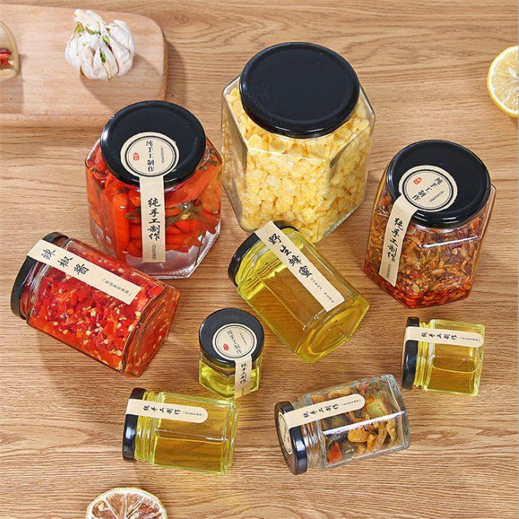 批发六棱玻璃瓶蜂蜜酱菜瓶玻璃密封罐透明玻璃定制玻璃罐 蜂蜜瓶