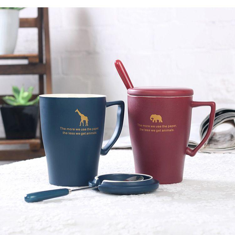 创意陶瓷杯咖啡杯带盖勺马克杯动物陶瓷杯家用喝水杯可定制logo
