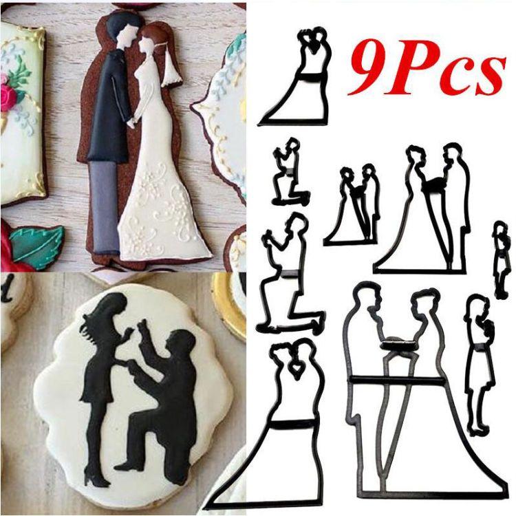 9pcs新郎新娘新婚剪影婚礼 翻糖蛋糕装饰印花模 饼干模 OPP袋装