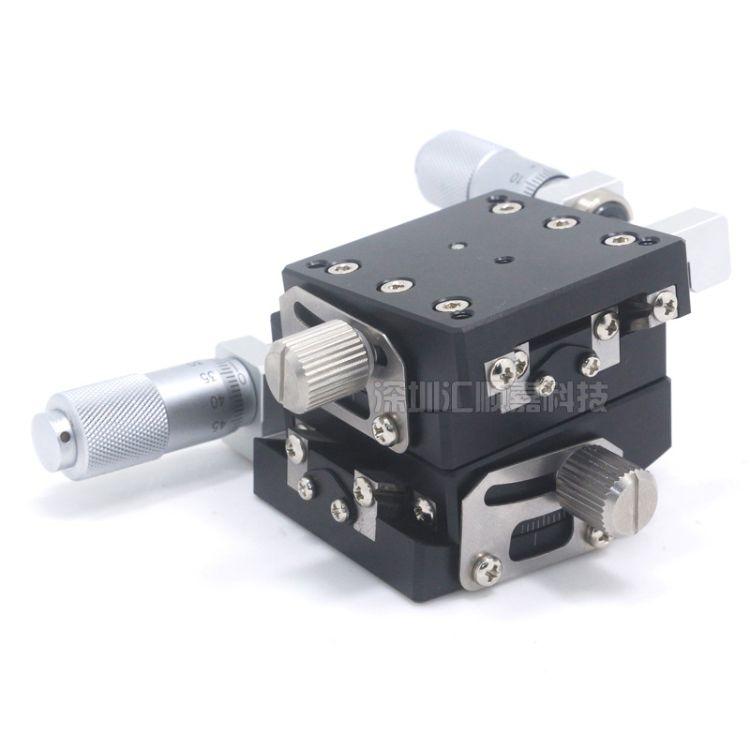 精密角度弧度台XY轴HHFY40-40-L千分尺旋钮驱动精密光学微调滑台
