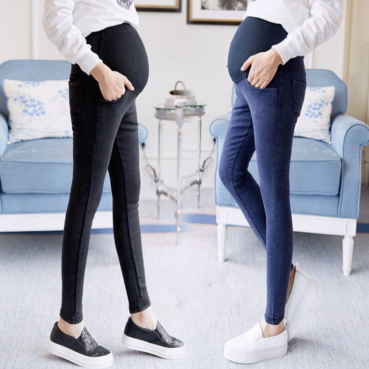 孕妇装2018秋季洗水小脚孕妇牛仔裤韩版 时尚弹力托腹孕妇长裤