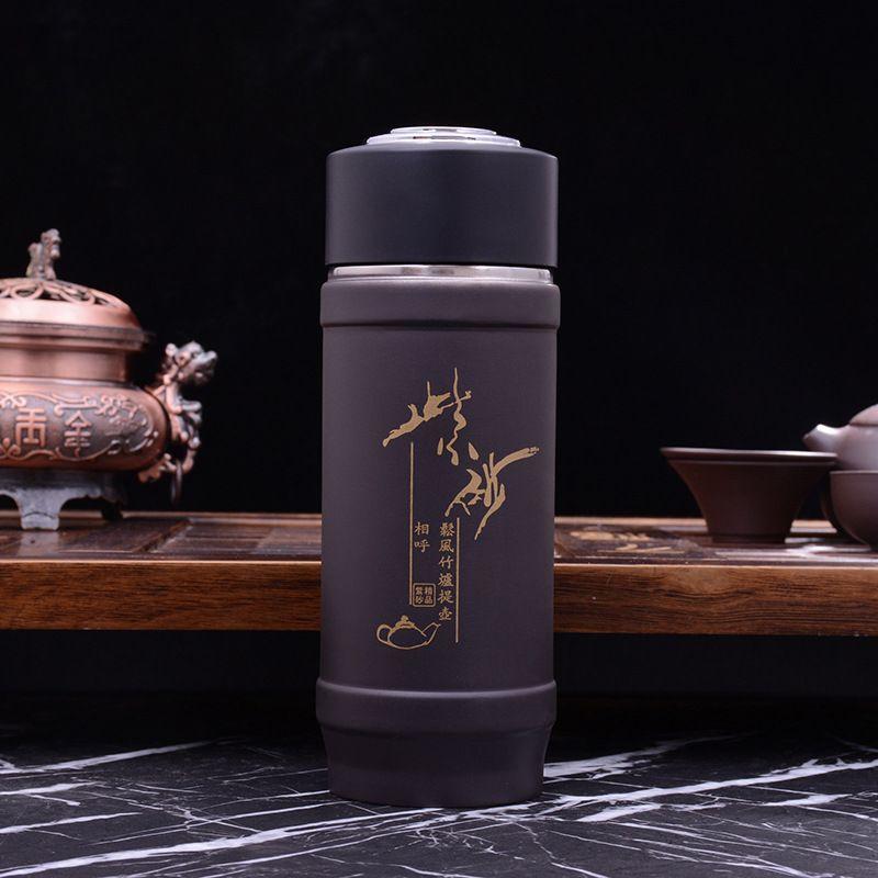 厂家直销天然紫砂内胆保温杯双层商务办公杯广告礼品杯定制批发