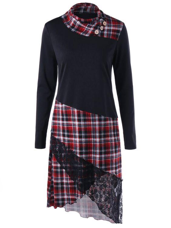欧美苏格兰乡村格子连衣裙
