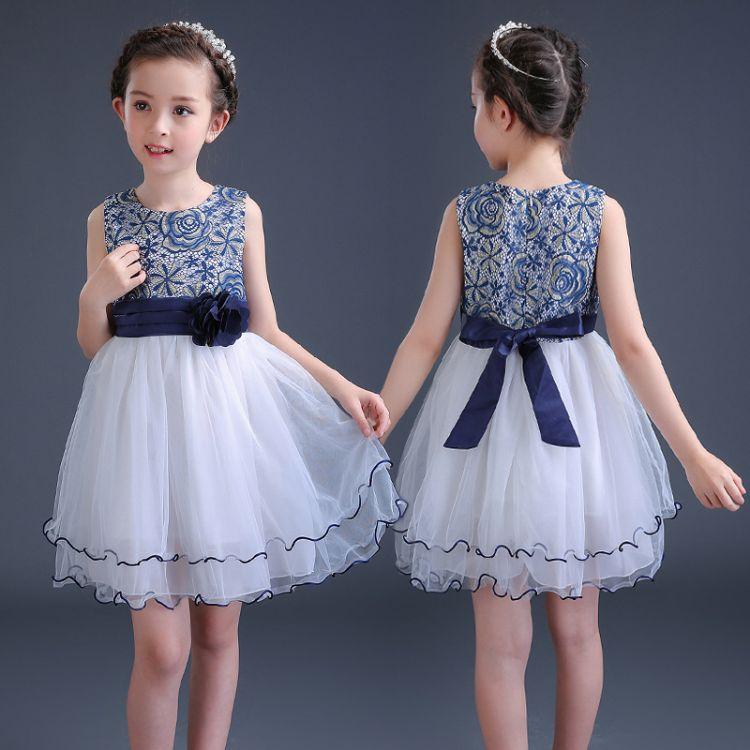 童装2018年夏新款女童连衣裙古典蕾丝撞色公主裙中大童礼服蓬蓬裙