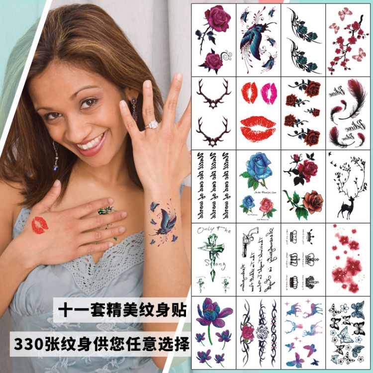 纹身标签贴纸韩国小清新纹身贴英文字母儿童纹身贴纸防水纹身贴