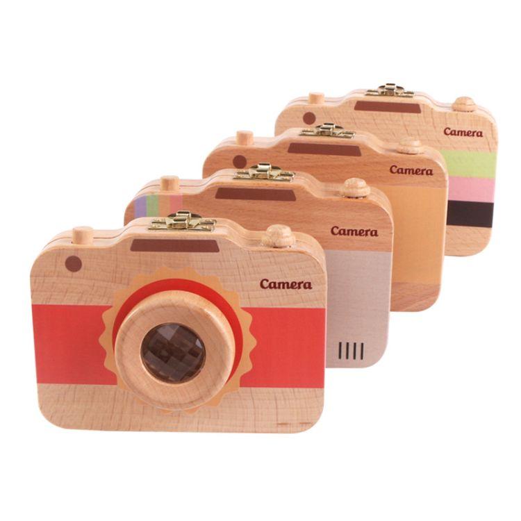 木制儿童相机乳牙保存盒宝宝牙齿牙屋收纳盒 胎毛珍藏保存盒