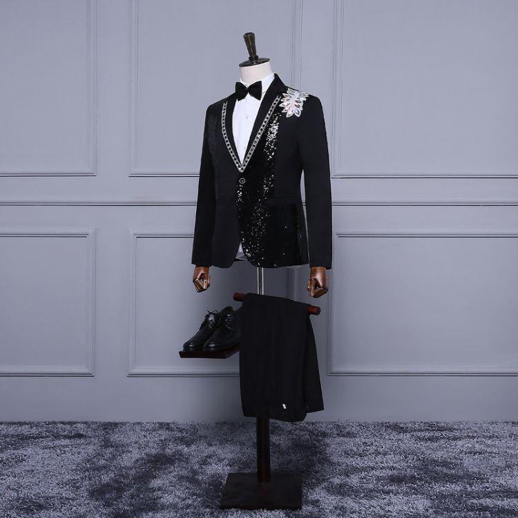 黑色镶钻亮片演出服西装外套年晚会舞蹈表演歌手主持人男士礼服