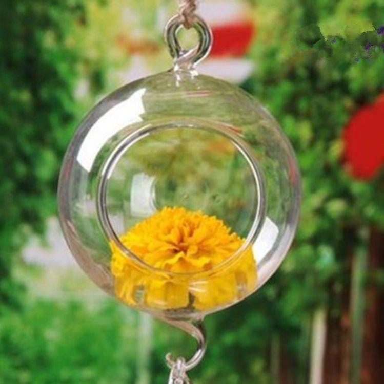 悬挂式双挂勾玻璃吊球大小口花瓶 创意透明水培花插花瓶 玻璃制品