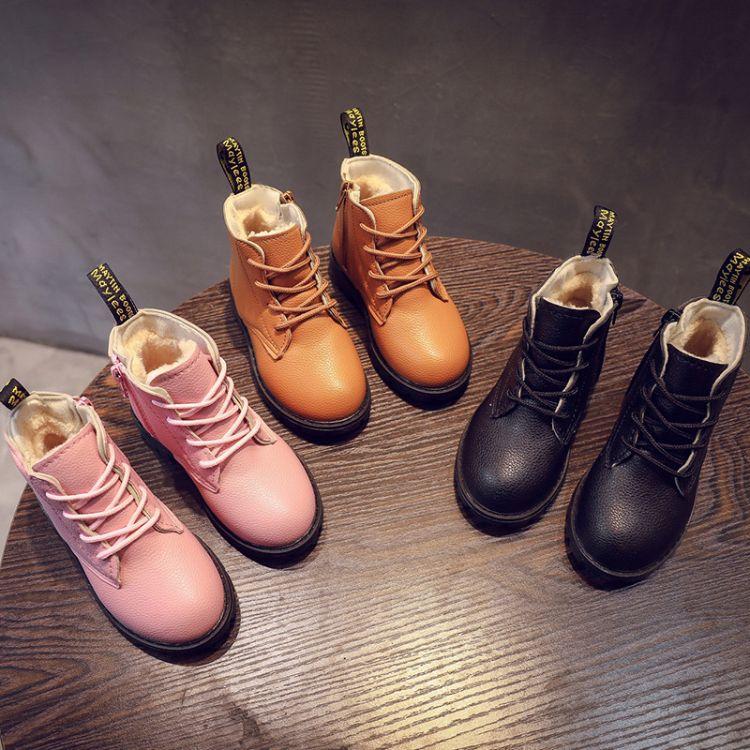18年新款儿童短靴男童女童纯色圆头时装靴加绒加厚保暖童鞋冬款