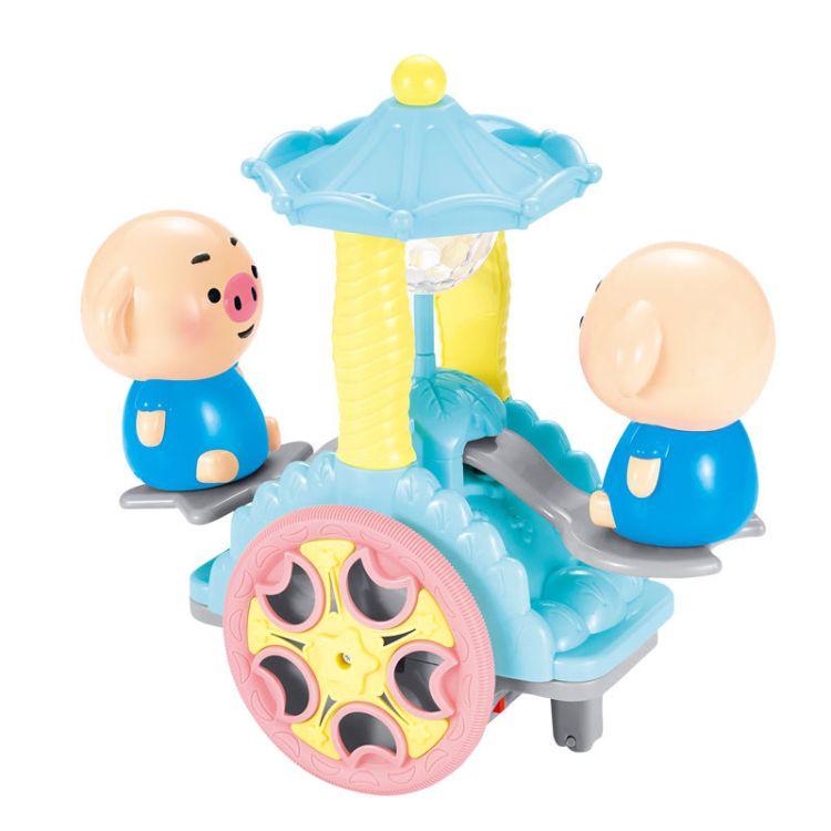 热卖抖音同款海草舞萌萌猪摇摇车 卡通灯光音乐万向电动玩具批发