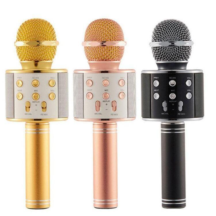 跨境专供手机K歌麦克风爆款麦克风蓝牙话筒唱吧自带音响一体ws858