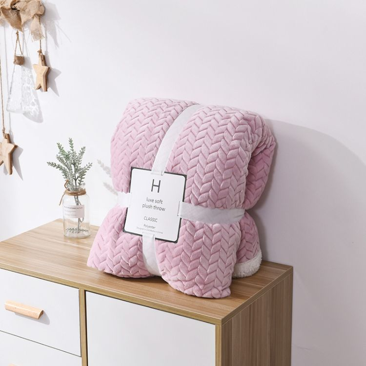 新款麦穗毛毯双层加厚毯冬天保暖盖毯高档女士时尚展销会团购毯子