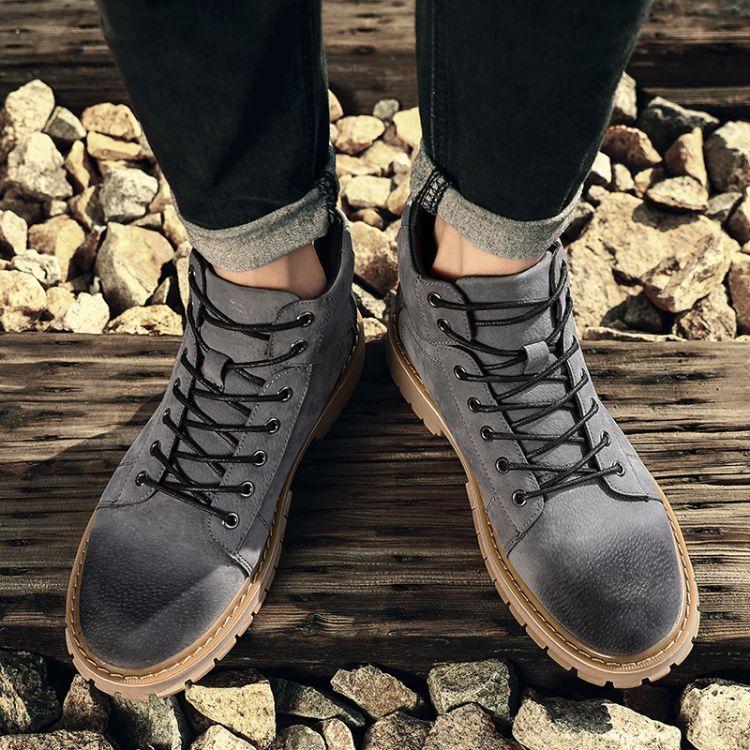 马丁靴男冬季英伦短靴高帮靴子沙漠工装男靴百搭潮鞋高帮战狼军靴
